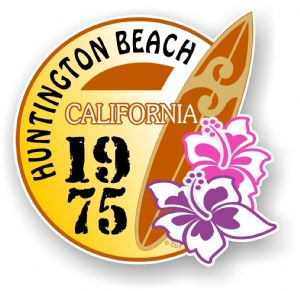 Huntington Beach 1975  Surfer Surfing Design Vinyl Car sticker decal  95x98mm